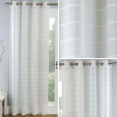 Cream Voile Curtain Panels Pom Pom Stripe Sheer Linen Eyelet Voiles Curtains