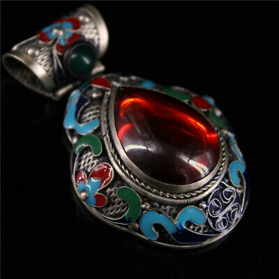 """2.76"""" Chinese Exquisite Tibetan Silver Cloisonne inlay ruby red gem Pendant"""