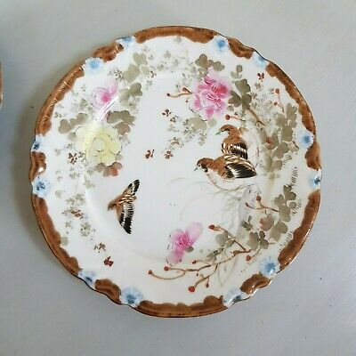 Four Antique Japanese Kutani Handpainted and Signed Side Plates Circa. 1920's