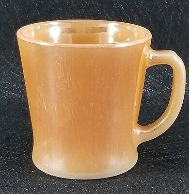 Fire-King Anchor Hocking Ware Coffee/Tea Cup/Mug Iridescent Peach Luster USA