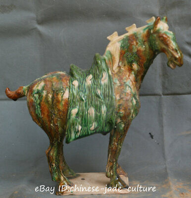 "12"" Antique China Tri-Color Glazed Ceramics Pottery Tang Dynasty Horse Statue QL"