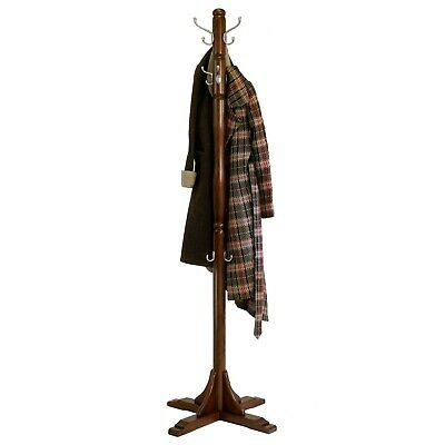 Jera Hallway Coat Hat Tree Three Large/Small Double Hooks Cappuccino Solid Wood