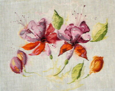 Lanarte Counted Cross Stitch Unframed Tapestry Picture Fuchsia In Watercolour
