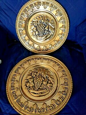 """2 Vintage Embossed Brass Grapes Fruit Wall Plates Matching England 11 1/2""""D"""