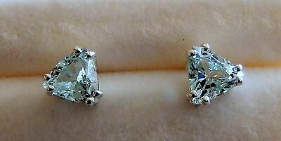 5x5 or 6x6 mm// 925 Sterling Post /& Nut Aquamarine Earrings Faceted Trillions