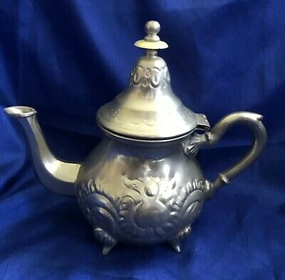"Vintage Magma Silver Footed Teapot 8"" With Hinged Lid Ornate"