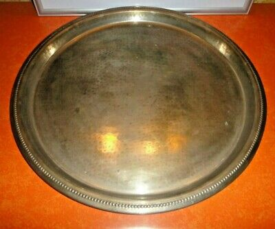 Antique LARGE ORNATE CALEGARO ITALY WAITER'S HAND FINISHED SILVER PLATE TRAY VG