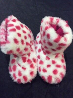 FAUX FUR SLIPPERS Pair Pink White Spotty Fluffy Bootie 1-2 Excellent Condition