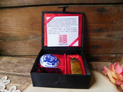 Vintage Chinese Carved Soap Stone Dragon with Red Ink Seal Kit Box China