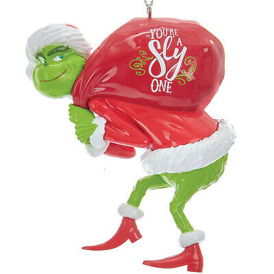 NEW Grinch With Red Sack Christmas Tree Ornament - Dr Suess Holiday Decoration