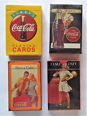 4 Sealed Packs Of Coca-Cola Retro Playing Cards