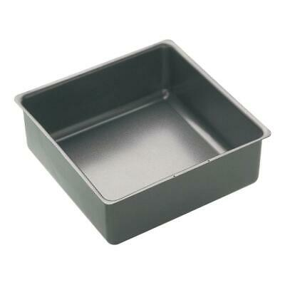 Masterclass Non Stick Square Cake Pan in Black Steel with Deep Loose Base
