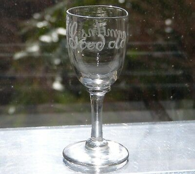 ANTIQUE Victorian ETCHED Good Old Newmilns TOASTING Dram BLOWN GLASS Scotland