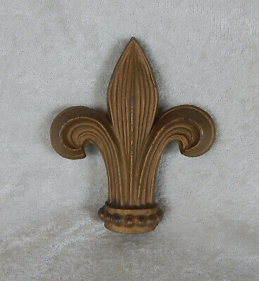 Vintage Antique Cast Iron Fleur De Lis Fence Gate Post Finial Gold Paint
