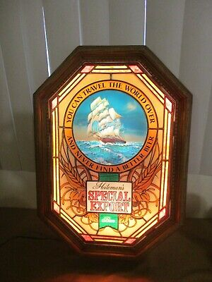 Vtg Heilemans Special Export Beer Illuminated Faux Stained Glass Ship Scene Sign