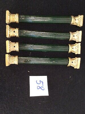 4 Antique Set Of Column Front Ornament Mantel Clock Case Part