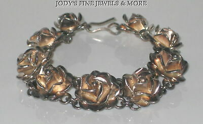 Magnificent Estate Sterling Silver Two Tone Floral Rose Chain Ladies Bracelet 7""