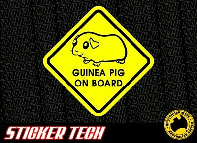 Warning Guinea Pig On Board Sticker Decal To Suit Pet Rodent Hamster Gift Mouse