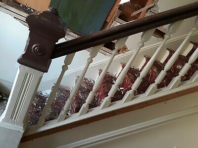 Vintage staircase, balusters / balustrades, newel post railing NO STEPS
