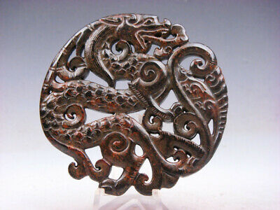 Vintage Nephrite Jade Carved Large Pendant Furious Curly Dragon #06151901