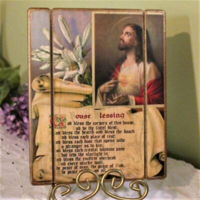 Sacred Heart of Jesus House Blessing Plaque Rustic Wood 8x10 Wall Decor