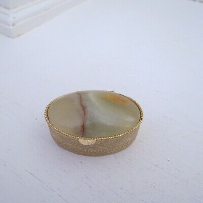 Vintage oval green alabaster top gold metal pill box #1