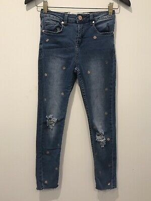 Girls Cotton On Ripped Skinny Jeans Blue Denim Polka Dot Gold Distressed Size 10