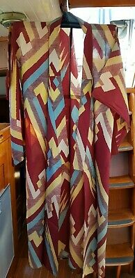 Fab Lightweight Red Brown With Yellow & Blue Vintage Japanese Full Length Kimono
