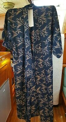 Fab Black With Brown Patterned Vintage Japanese Full Length Kimono