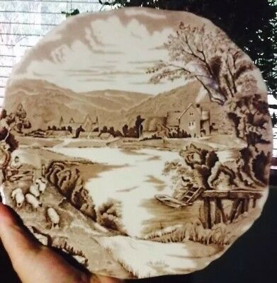 Antique Vintage Tintern Alfred Meakin Plate Engraved Under Glaze