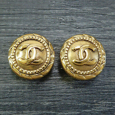 CHANEL Gold Plated CC Logos Vintage Round Clip Earrings #5005a Rise-on
