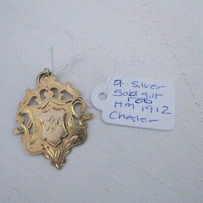 Antique sterling silver gilt fob pendant hall marked Chester 1912 (B)