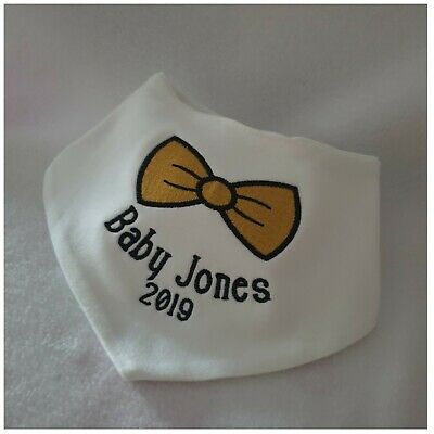 Personalised Baby Bib, Bandana Bib, New Baby Gift, Bow Tie Design, 2019, Boy