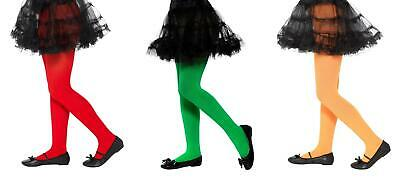 Childs Opaque Tights Green, Red & Orange Fancy Dress Party Accessory Age 6-12