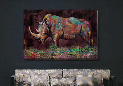 Rhino Stretched Canvas Print Framed Wall Art Home Decor Painting Gift Homeware