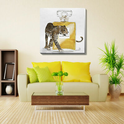 Leopard Perfume Stretched Canvas Print Framed Wall Art Hanging Home Office Decor