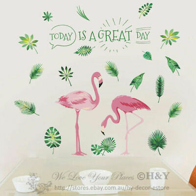 Flamingo Tropical Leaves Removable Wall Sticker Nursery Decor Kid Art Mural Gift