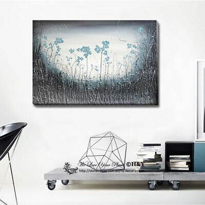 Abstract Blue Flowers Stretched Canvas Print Framed Wall Art Home Decor Painting
