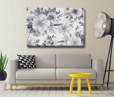 Embriodered Floral Flower Stretched Canvas Print Framed Art Wall Decor F103