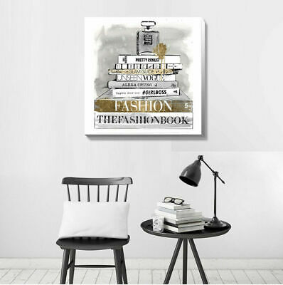 Books Perfume Fashion Stretched Canvas Print Framed Wall Art Home Office Decor