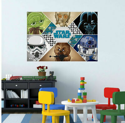 Star Wars Characters Wall Sticker Mural Decal Kids Cartoon Boys Room Decor Gift