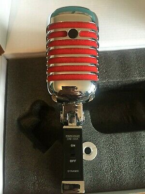 Retro Vintage 50's Style Dynamic Microphone Vocal Studio Red & Chrome Mic + lead