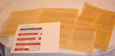 1956 Souvenir Documents Constitution Bill Of Rights Gettysburg Address & More