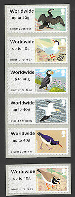2011 Birds of Britain IV Post & Go worldwide up to 40g set of 6.