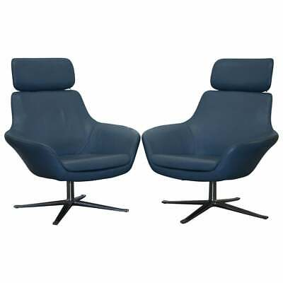 Rrp £5500 Coalesse Bob Lounge Leather Armchairs Pair, Exclusive By Pearson Lloyd