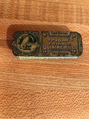Antique Upjohns Friable Quinine quack pill tablet medical tin Passaic Metal Ware