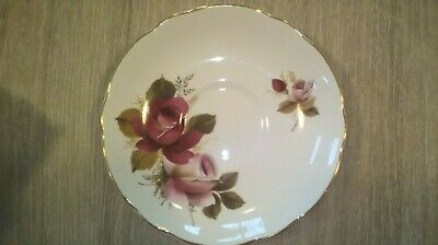Montfort Bolton's Staffordshire bone china tea saucer, red and pink roses.