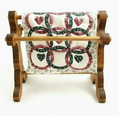 """Doll House Wood Handmade Quilt Rack and Quilt -  8"""" Tall Vintage"""