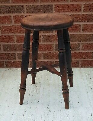 Antique Victorian Ash and Elm Farmhouse Kitchen 4 Leg Stool / Milking Stool