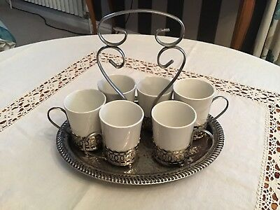 Vintage Enoch Wedgewood Six Coffee Cups With Tray